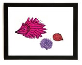 Hedghog And Hoglets - Art print of the original colourful drawing