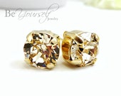 Champagne Bridal Studs Gold Bride Earrings Delicate 8mm Swarovski Crystal Light Silk Solitaire Studs Pastel Bridesmaid Gift Wedding Jewelry