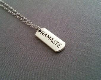 NamasteTag Necklace, Silver Namaste Pendant, Layering Layered, Long Necklace, Tag Necklace, Namaste Tag, Yoga Necklace