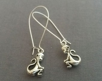 Monkey Earrings. Silver Monkey Charms. Monkey Jewelry. Dangly Dangle Earrings. Whimsical Earrings