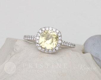 Cushion Yellow Sapphire Engagement Ring Diamond Halo Gemstone Engagement Ring Wedding Ring Anniversary Ring