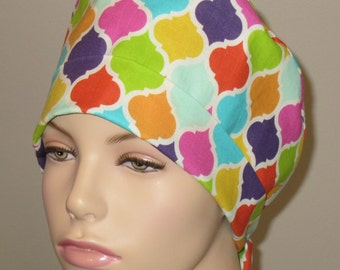 Scrub Hat Colorful Quatrefoil