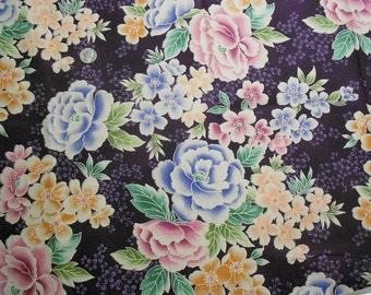 Large Floral Print on Eggplant Purple Fabric