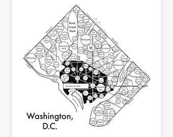 "Washington, D.C. Map 8"" x 8"" Letterpress. Beautiful Minimalist Simple Graphic Neighborhood Art Print. Cool Travel Poster Design."