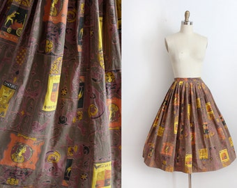 CLEARANCE vintage 1950s skirt // 50s novelty Duke of York skirt