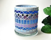 Stained glass mosaic votive candle holder blue pink orchid handmade