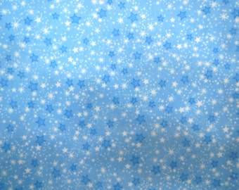 Flannel Fabric by the Yard in a Great Blue Star Print 1 Yard