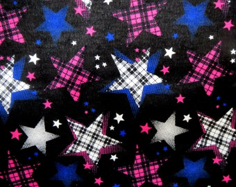 Flannel Fabric by the Yard in a Bright Black with Pink, Blue and White Stars Print 1 Yard