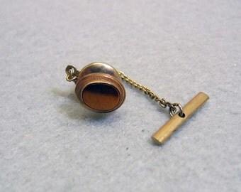 1960s Tigers Eye Tie Tac, Tigerseye Tack Pin