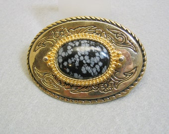 Vintage Snowflake Obsidian Western Belt Buckle, MINT