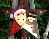 Santa tree topper, Christmas tree topper, rustic star topper, star, snowman tree topper, rusty tin, hand painted, xmas tree star,