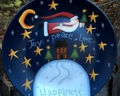 Santa plate, hand painted decorative plate, for decorative use only, Santa Collector, Christmas decoration