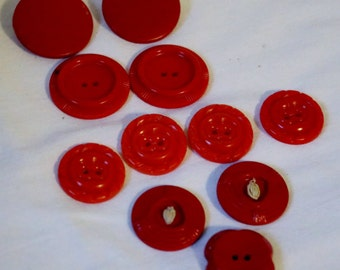 Buttons Vintage Red Assorted Lot Shank Buttons