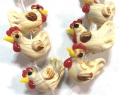 8 pieces Animal Rooster Lampwork Beads, Chicken Glass Beads