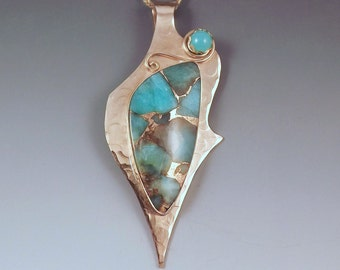Amazonite- Gorgeous Texture- Aqua and Gold- Bronze Pendant- Metal Art Necklace by RedPaw