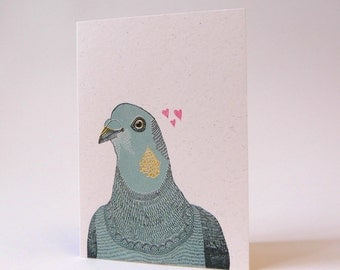 Gerald Looking for Love - Screen Printed Greeting Card Pigeon Valentine Anniversary