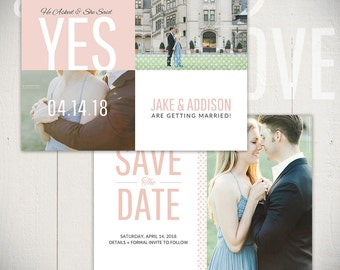Save The Date Card Template: Beginnings Card C - 5x7 Engagement Card Template