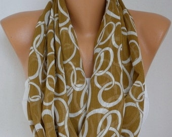 Chain  Print Infinity Scarf,Christmas Gift,Chiffon Scarf, Circle Scarf Loop Scarf  Gift Ideas For Her,Women's Fashion Accessories -fatwoman