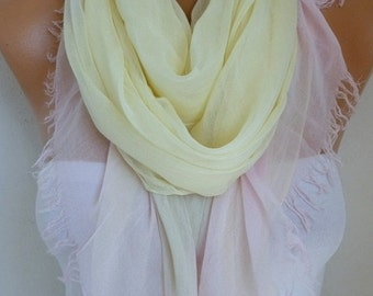 Yellow & Pink Cotton Scarf Soft Shawl Summer Cowl Oversized Wrap Gift Ideas For Her Women Fashion Accessories Teacher Gift Scarves