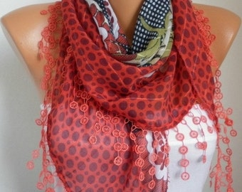 Red Scarf Cotton Scarf Teacher Gift Cowl Scarf Necklace Bridesmaid Gift Gift Ideas For Her Women's Fashion Accessories