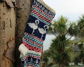 Personalized Christmas Stocking Knit Flamingos Fair Isle Handknit Modern Holiday Santa Sock - Custom made to order