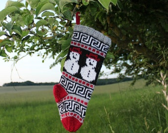 Small Christmas Stocking knitted with Snowmen Holiday stocking Red-Grey decorative Xmas sock fair isle SGR