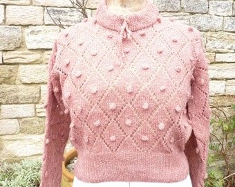 Hand knitted 1940's style shetland wool sweater