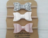 Set of 3 Mini Chunky Glitter, Wool Felt and Faux Leather Bow Headbands- Blush, White and Silver - Nylon Headbands