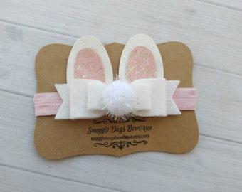 Sale- Five Dollar Friday- Easter Bunny Felt Bow Headband- Felt and Glitter Bow - Bunny Bow