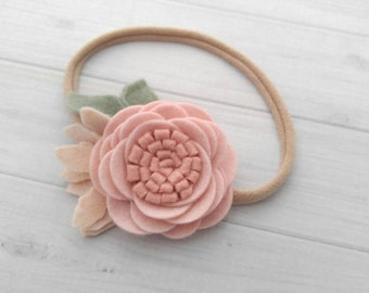 Wool Felt  Rose Headband or Hairclip- Blush Pink-  On Nylon Headband