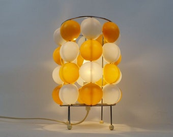 Vintage White and Orange Seventies Bedside Lamp Space Age