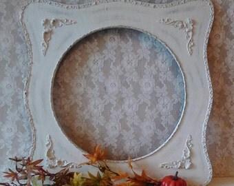 White Picture Frame, Cream Antique Frame, Shabby Cottage, Paris Chic, Large Vintage frame, French Market