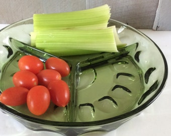 Vintage Indiana Glass Company Crown Green Glass Divided Serving Dish / Relish Tray/ Retro Green Glass