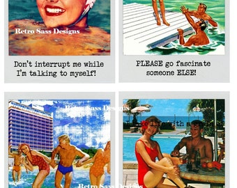 RETRO roadtrip inspired  polaroid frame postcard or journal cards sassy sayings -postcards-sassy-digital delivery