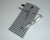 Glasses Case - Black and White Houndstooth - Stocking Stuffer - Gift Under 15