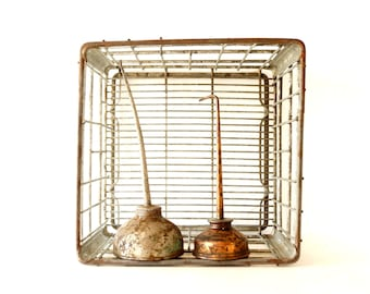 "Vintage Metal Dairy Crate / Wire Milk Crate Bottle Basket ""NORRIS CRY."" (c1968s) - Industrial Decor, Storage, Cubby Bench"