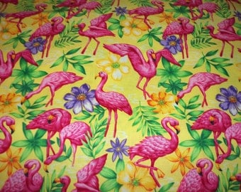 Flamingos Fabric Bright Yellow Background New By The Fat Quarter