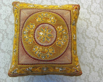 Indian Sequined Pillow Cover & Pillow, gold and marsala/burgundy, vintage
