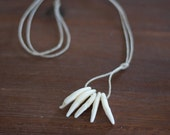 White Coyote Tooth Necklace on Hemp Cord