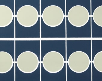 Retro Wallpaper by the Yard 70s Vintage Wallpaper - 1970s Vinyl Navy Blue and Beige Circles and Tiles Geometric