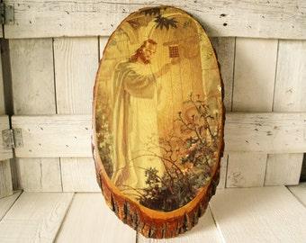 Vintage wood slice art Jesus Christ at the door sacred icon wall hanging 1940s