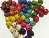 45 pcs  7.5-10mmx 9- 10mm  mixed colors  Howlite Skull Beads