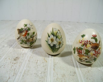 Vintage Bisque Pottery Eggs Hand Painted Birds & Flowers Solid Heavy Egg Shaped Trio Paperweights - Set of 3 Collectible Porcelain Egg Art