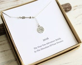 Sterling Silver Arrow and Compass Lariat Necklace...  Graduation Inspirational Sentiment Card