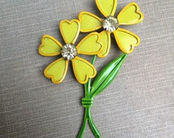 1960s Vintage metal enamel flower brooch