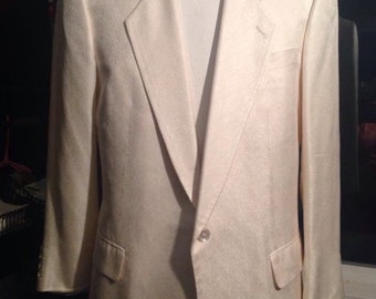 Vintage Elvis Presley Mans Shantung White Dinner Jacket