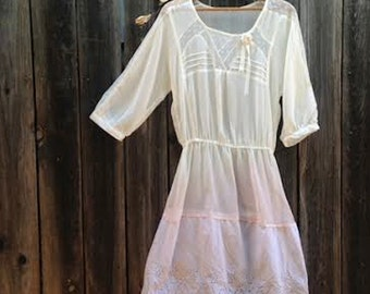 off white lovely ROMANTIC ecru soft dip dyed pink gypsy fairy bride bridal wedding dress party summer prairie dress tunic