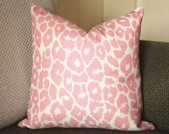 Iconic Leopard in pink Blue brown Ink Designer Pillow Cover - Animal Print Linen Pillow Cover - Decorative Leopard Pillow 370