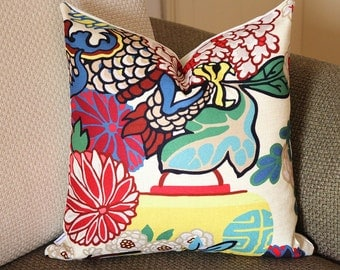 Chinese Dragon Flowers Pillow Cover in Alabaster 426