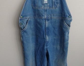 vintage Liberty distressed denim Jean Bib overalls / grunge overalls / unisex denim overalls